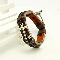 Bow Tie House™ Браслет коричневый с золотистым якорем