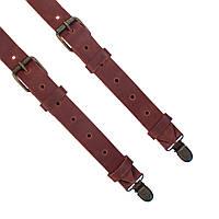 Bow Tie House™ Подтяжки кожаные коричневые узкие с пряжками из матовой кожи