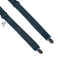 Bow Tie House™ Подтяжки кожаные зеленые узкие на регуляторах из матовой кожи