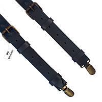 Bow Tie House™ Подтяжки кожаные черные узкие с пряжками - матовая кожа