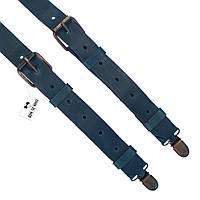 Bow Tie House™ Подтяжки кожаные зеленые узкие с пряжками из матовой кожи