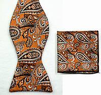 Галстук-бабочка мужская золотистая с абстракциями + платок
