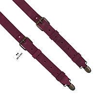 Bow Tie House™ Подтяжки кожаные вишневые узкие с пряжками из матовой кожи