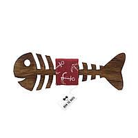 Bow Tie House™ Бабочка деревянная рыбка - ткань коричнево-розовая с якорями