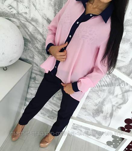 Костюм женский  блуза на пуговицах+брюки