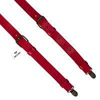 Bow Tie House™ Подтяжки кожаные красные узкие с пряжками антик - пуль-ап