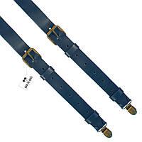 Bow Tie House™ Подтяжки кожаные темно-синие узкие с пряжками (пуль-ап)