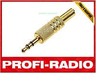 Аудио штекер папа джек jack 3 pin для наушников 3,5мм золото