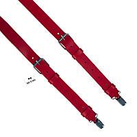 Bow Tie House™ Подтяжки кожаные красные узкие с пряжками никель - пуль-ап