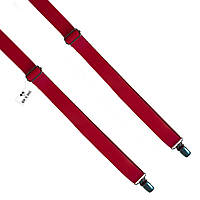 Bow Tie House™ Подтяжки кожаные красные узкие с регуляторами никель - пуль-ап