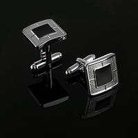 JASON&VOGUE Запонки классические черные квадратные сдержанные