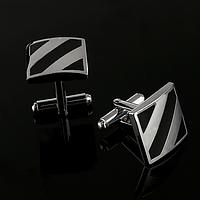 JASON&VOGUE Запонки классические квадратные черные в полоску