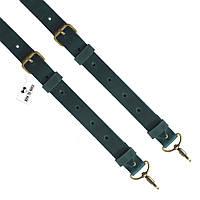 Bow Tie House™ Подтяжки кожаные зеленые узкие на карабинах с пряжками антик - кожа Крейзи Хорст