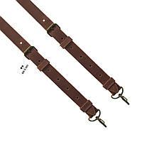 Bow Tie House™ Подтяжки кожаные коричневые узкие на карабинах с пряжками антик - кожа Крейзи Хорст