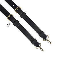 Подтяжки кожаные черные узкие на карабинах с пряжками антик - кожа пуль-ап Bow Tie House™