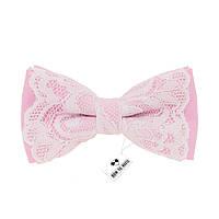 Бабочка розовая женская праздничная с кружевами