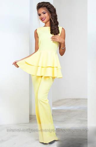 Костюм женский брюки +блуза с воланами