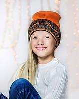 "Шерстяная шапка оранжевая ""Олени"" Софія"
