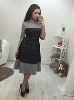 Платье миди с гипюром, воротником-стойка и вырезом на спинке