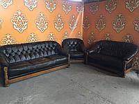ГРИЗЛИ комплект кожаной мягкой мебели 3+2+1