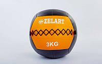 Мяч медицинский (волбол) WALL BALL  3кг (PU, наполнитель-метал. гранулы, d-33см, оранжевый)