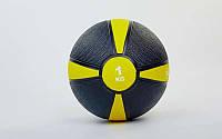 Мяч медицинский (медбол) 1кг (резина, d-19см, черный-желтый