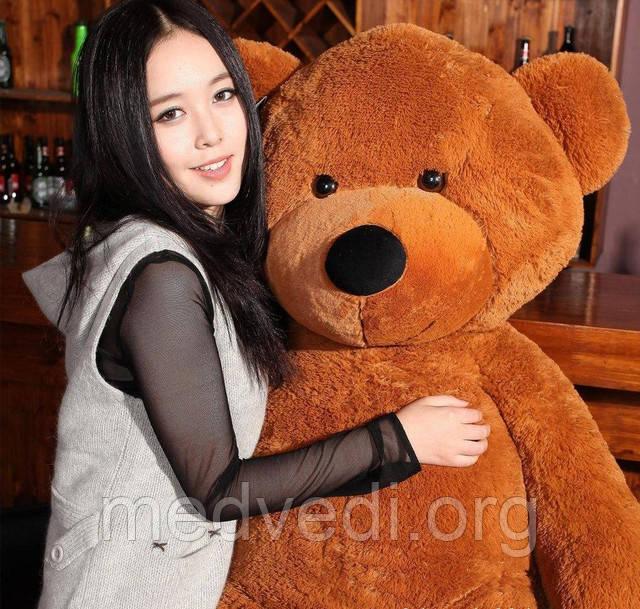 Огромный коричневый медведь плюшевый 2 метра