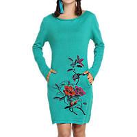 Трикотажное мини-платье с вышивкой