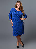 Платье батал синее сборки брошь