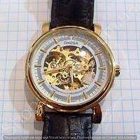 b4baca6a50384a Часы Omega 2060 114413 мужские механические золотистые с автоподзаводом  скелетон диаметр 37мм копия