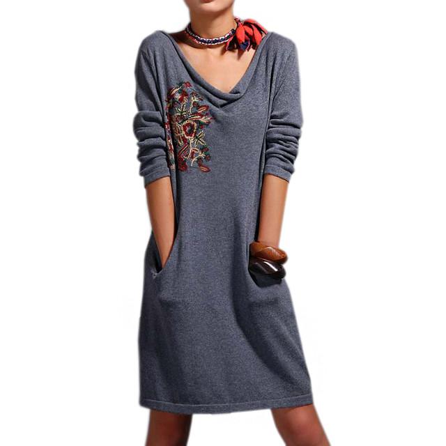 e2a8e5752c2 Трикотажное Серое Платье с Вышивкой — в Категории