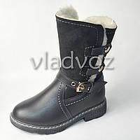 Зимние кожаные сапоги для девочки серые 31р.