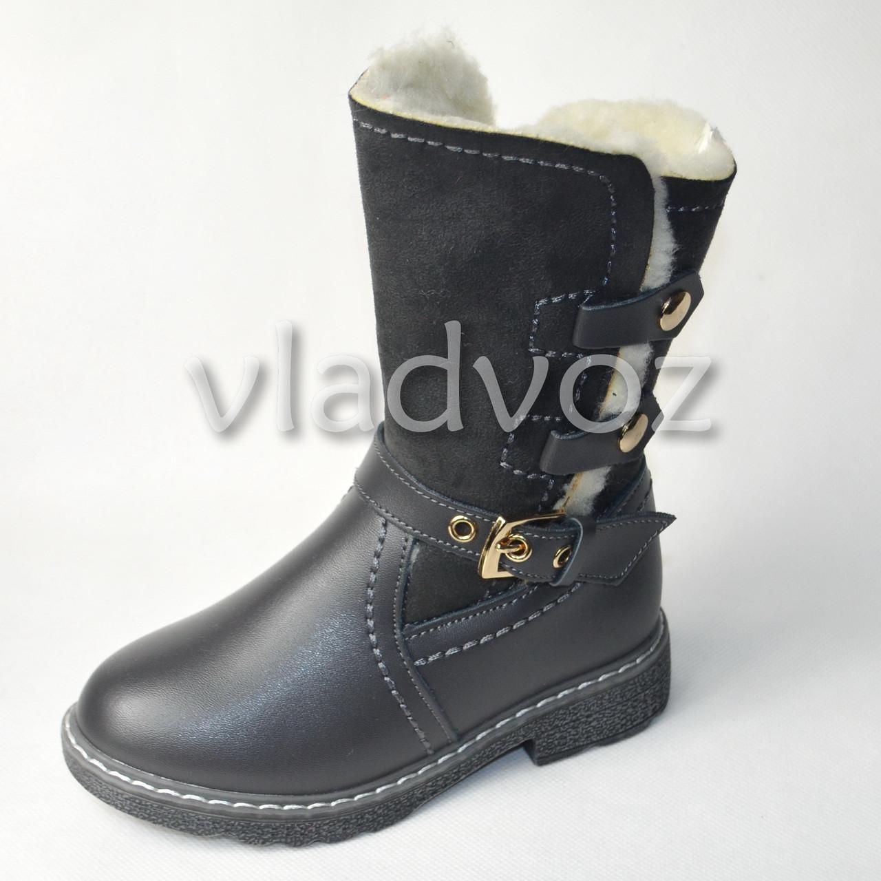 Зимние кожаные сапоги для девочки серые 28р.
