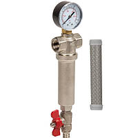 Самопромывной фильтр латунь 1  для горячей и холодной воды (100 микрон) Aquafilter