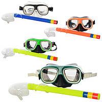 Набор для плавания M 0764 U/R (96шт) маска 15-8,5-6см, трубка 32см, 4 цвета, в кульке, 15см