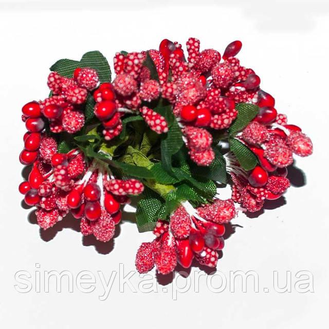 """Додаток к цветам """"рис"""" или """"шишечки"""" красный с зелёными листиками, букетик из 11-12 соцветий, длина 9 см"""