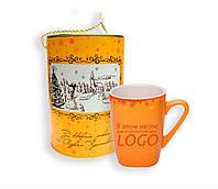 Керамическая чашка с новогодним принтом