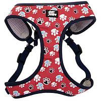 Coastal Designer Wrap шлея для собак, 40,6-48,3см, 3,2-4,5кг, красный с лапками