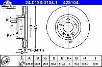 Диск тормозной передний TRW DF2645; BOSCH 0986478593, 986478593; ZIMMERMANN 430146552 на Opel Omega