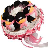 Букет из мягких игрушек Пингвинчики розовый