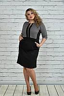 Женское деловое платье 0348 цвет гусиная лапка размер 42-74 / большие размеры