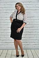 Женское деловое платье с шифоном 0321 цвет черно белый размер 42-74 / для полных девушек