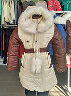 Пальто пуховик куртка холлофайбер евро зима  с капюшоном  мех на девочку 122 см