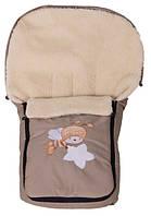 Детский зимний конверт в коляску Qvatro бежевый Мишка