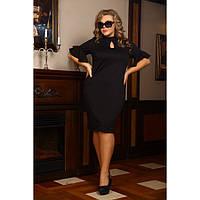 Женское современное платье Мадам цвет черный размер 48-72 / для полных девушек