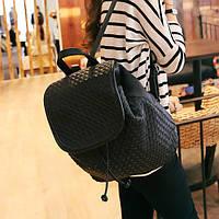 Плетеный женский рюкзак черный