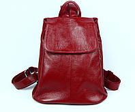 Бордовый женский кожаный рюкзак