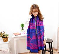 Сине-фиолетовый женский палантин с Парижем, фото 1