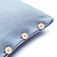 Подушка декоративная Ohaina на пуговицах  коллекция Умиротворение 40х40  цвет пыльно-голубой, фото 1
