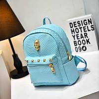 Голубой женский рюкзак с черепом из кожзама под кожу питона, фото 1